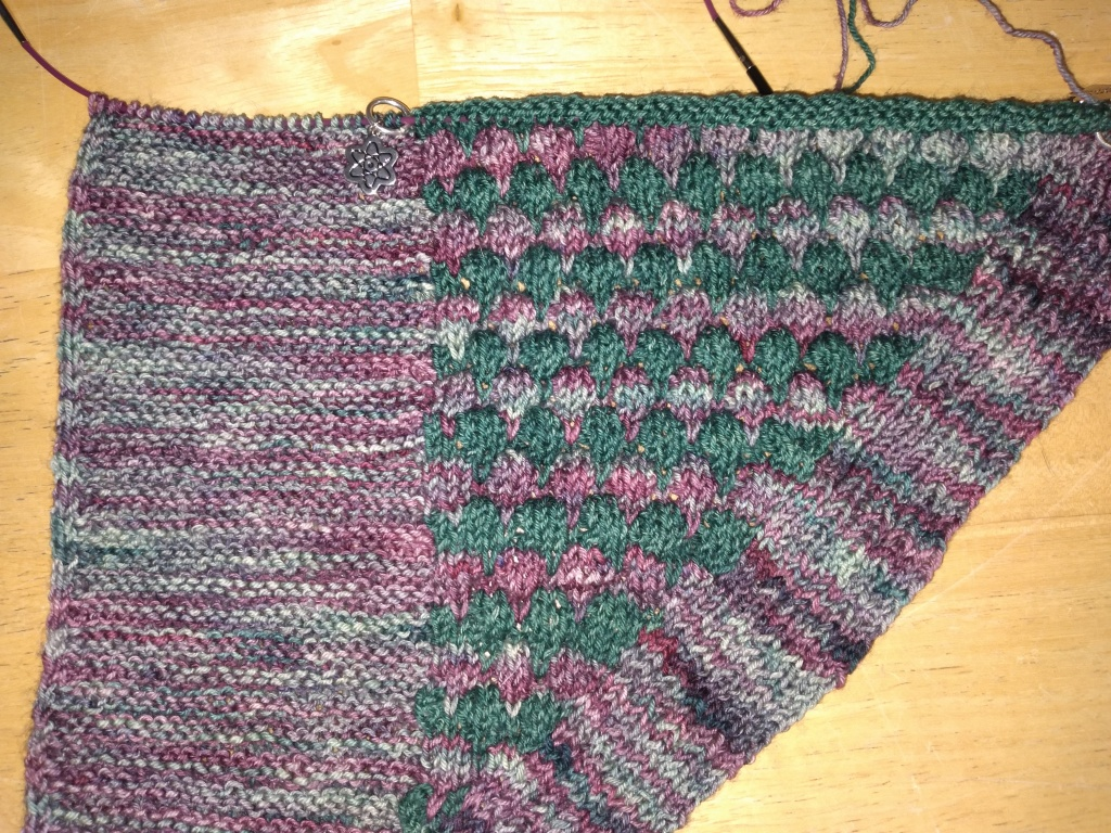 Sara's shawl worked to about a foot wide in variegated and green yarn lays on a brown background, waiting for the next row to be worked.